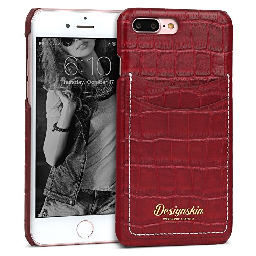 Croco Pocket - iPhone 8 Plus/iPhone 7 Plus Case, DesignSkin [Croco Pocket] Bar-Type: 100% Handcrafted ID Credit Card Storage Genuine Cow Leather Simple Slim Thin Fit Fashion Style Unique Luxurious Cover - Burgundy