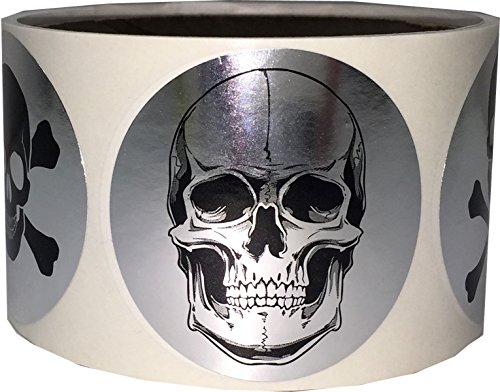 Silver Skull and Crossbones Circle Dot Stickers, 2 Inch Round, 100 Labels on a Roll -