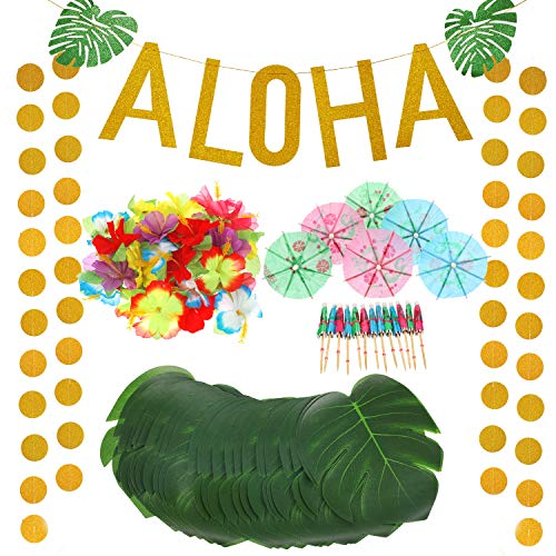 189 Pieces Hawaiian Tropical Luau Theme Party Decorations Set Includes Gold Glitter Aloha Banner Mixed Color Paper Umbrellas Tropical Palm Simulation Leaves Artificial Hibiscus Luau Flowers