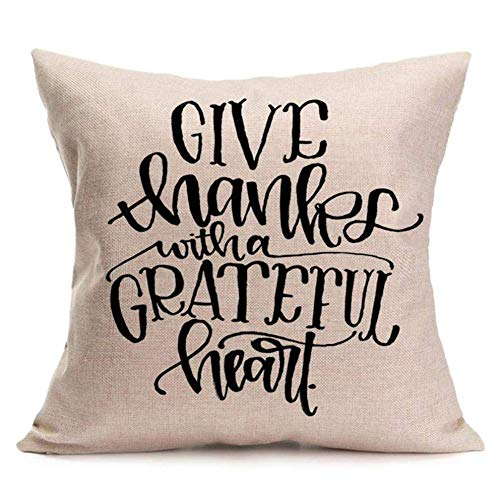 (CoraBest Give Thanks with a Grateful Heart Quote Cotton Linen Home Decorative Thanksgiving Saying Throw Pillow Case Cushion Cover Protector)