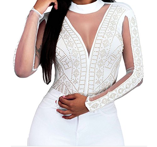 Bubble Wrap Costume Canada (PEGGYNCO Womens White Gold Studs Bodysuit Size S)
