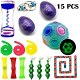 FIDGETHUOSE 15 Pack Bundle Fidget Toys Set-Fidget Chain/Liquid Motion Timer/Rainbow Ball Magic Cube/Squeeze Bean Toys ADD ADHD