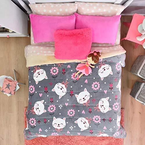 新しいPrettyコレクションKitty Kids Girls Blanket with Sherpa Very Softy厚暖かい、フル/クイーンサイズ   B0755BRLVK