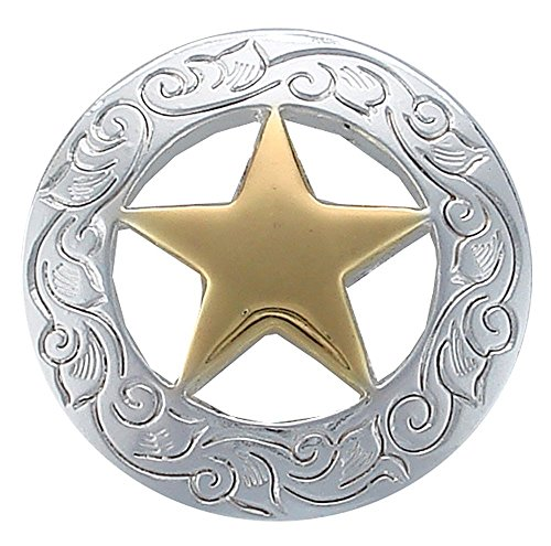 Western Engraved Texas Ranger Star Concho Polished Silver and Gold 10pcs