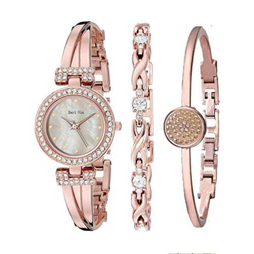 - Women's Wrist Watches with Rose Gold Band 3 Sets Match Any Outfits