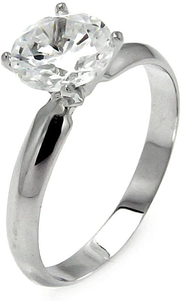 Prong Set Round Cubic Zirconia Plain Band Ring Rhodium Plated Sterling Silver