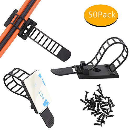 Nylon Wire Range - Adjustable Self-Adhesive Nylon Cable Tie mounts Cable Straps with Optional Screw Cord Clamps for wire management(50pack)