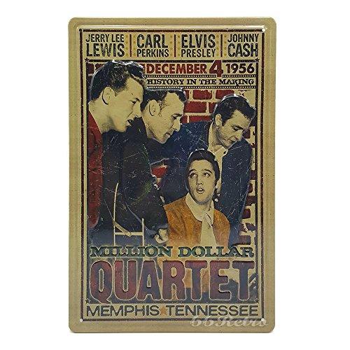 66Retro Million Dollar Quartet Poster Elvis Presley Johnny Cash, Retro Embossed Metal Tin Sign, Wall Decorative Sign