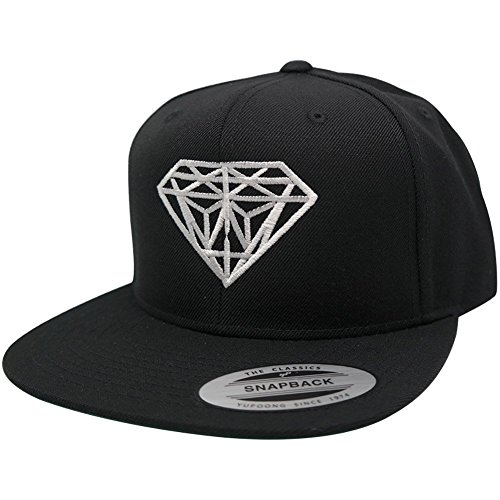 Flexfit Diamond Embroidered Flat Bill Snapback Cap - Black with White Thread