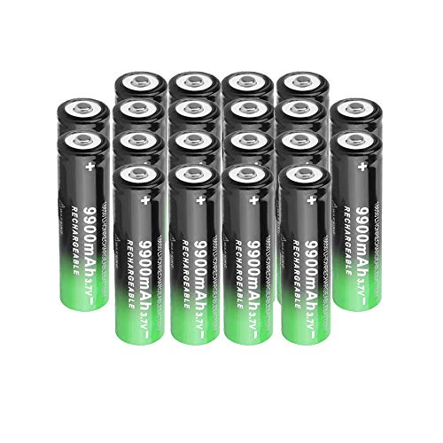 Rechargeable 18650 Battery(Button Top),20 Pack Household 9900mAh 3.7V Li-ion Battery for Electric Tools Flashlight