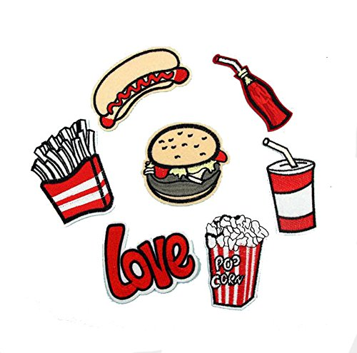 7pcs/lot Cloth Patches Garment Applique DIY Decoration Accessories Iron On Embroidered Patch Set- Food Hamburger Hot Dog Cola French Fries Popcorn Love Patch