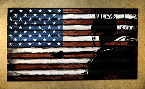 (Spartan Warrior painted on an aged Wood American Flag | Consists of thirteen, individually worn out pieces of wood | American Flag Wall Art | Come and get them | Personalized Engraved plaque optional)