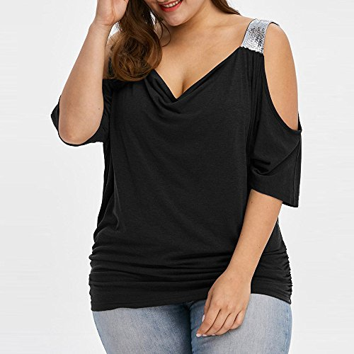 Donna Spalla Tops Nero Estate Casuale Sexy Forti Damark Tunica Donne Scollo off T Corte Paillettes a Maniche Vestiti Moda TM Cime con V Shirt Maglietta Manica Taglie Corta Camicetta fCXpXw0qx