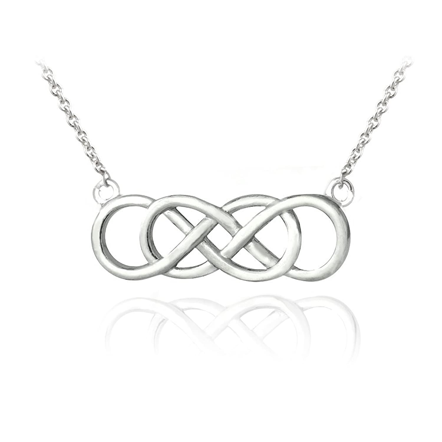 Amazon sterling silver double infinity symbol necklace chain hoops loops sterling silver double infinity necklace biocorpaavc Image collections