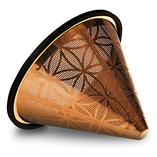 Bolio - Titanium Coated Stainless Steel Reusable Coffee Filter - Ultra Fine Mesh - Flower of Life Pattern (Size No.2)