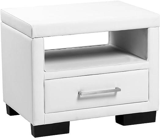 Corium ® Table de nuit avec 2 tiroirs blanc Art-Cuir Nuit Commode Table d/'appoint