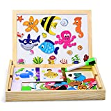 Dookey Wooden Magnetic Board Puzzle Games Marine Organisms Pattern 100 PSC Jigsaw & Drawing Easel Chalkboard Educational Learning Toys with 2 Pens for Kids 3 to 6 Years Old
