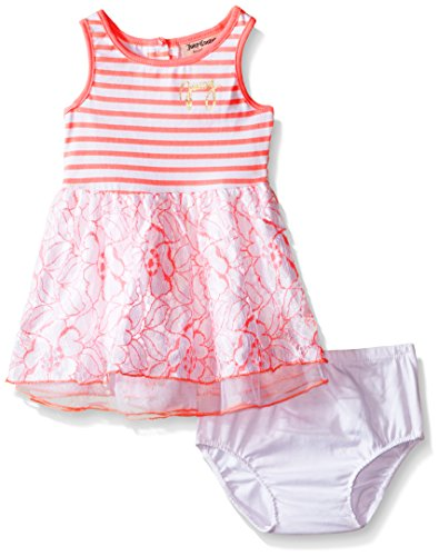 Juicy Couture Baby Girls' Stretch Jersey Stripe Dress with Lace and Mesh on Skirt, Coral, 18 -