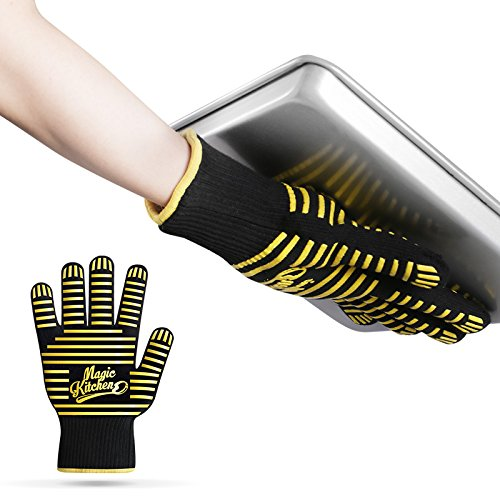 Magic Kitchen Oven Glove Heat Resistant Grilling Gloves/Oven Mitt for Cooking,BBQ,Grill,Baking(Set of 2)