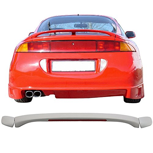 Trunk Spoiler with 3rd Brake Light Fits 1995-1999 Mitsubishi Eclipse | Factory Style Unpainted Black ABS Plastic Added On Spoiler Wing Deck Lid By IKON MOTORSPORTS | 1996 1997 1998 ()