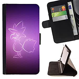 BETTY - FOR HTC One M7 - Purple Bird - Style PU Leather Case Wallet Flip Stand Flap Closure Cover