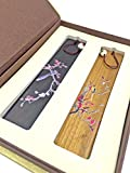Unique Gift - Olina Handmade Natural Wood Bookmark-best Gifts (Bm010-2 Kinds of Wood- Painted Flowers and Birds)