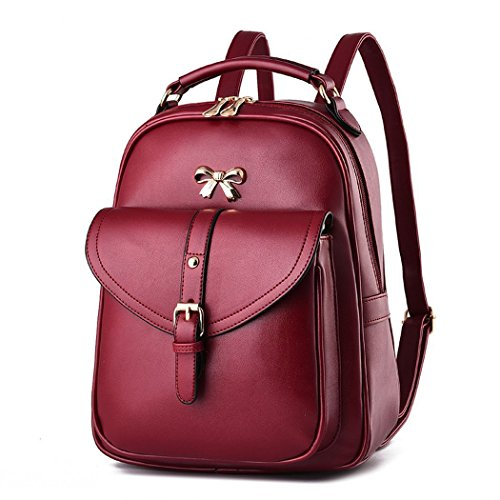 Flake Rain Women's Graceful Lovely Bowknot Soft PU Leather Student Backpack Travelling Bag(Red)