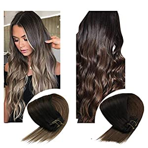 Sunny Ombre Clip in Hair Extensions Human Hair 7pcs 120g Double Weft Clip in Hair Extensions Ombre Balayage Clip in…