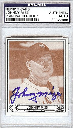 Johnny Mize Signed 1942 Play Ball Reprint Trading Card #31 New York Giants - Certified Genuine Autograph By PSA/DNA - Autographed Baseball Card from ItsAlreadySigned4U