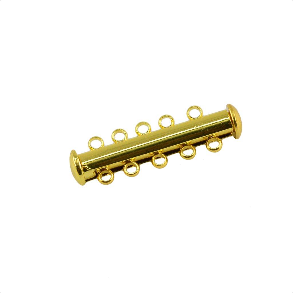 Color Plata//Oro Accesorios para DIY Joyer/ía Oro 21 x 10 x 6 mm Sharplace Cierre de Tubo Magn/ético 5 Filas Magnetic Tube Clasp 10 Piezas
