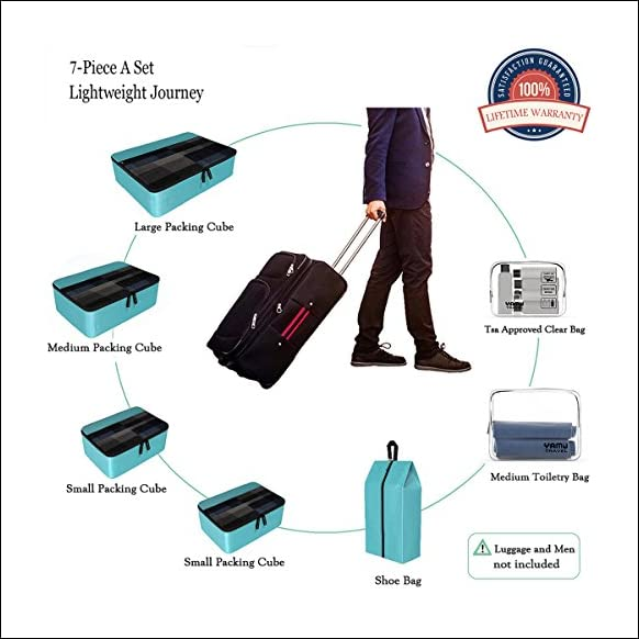 YAMIU Packing Cubes 7-Pcs Travel Organizer Accessories with Shoe Bag & 2 Toiletry Bags(Blue)