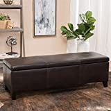 Christopher Knight Home 296844 Living Great Deal Furniture | Skyler Faux Leather Storage Ottoman Bench | in Brown Review