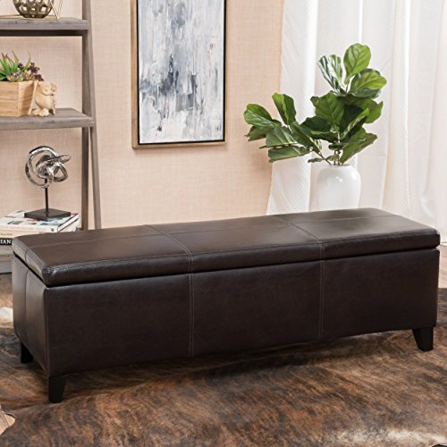 Christopher Knight Home 296844 Living Deal Furniture | Skyler Faux Leather Storage Ottoman Bench | in Brown, (Faux Leather Footstool Brown)