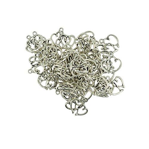 Silver Charm Hollow Heart (Jili Online 50 Pieces Retro Antique Silver Zinc Alloy Hollow Double Heart Charm Pendant Jewelry Making)