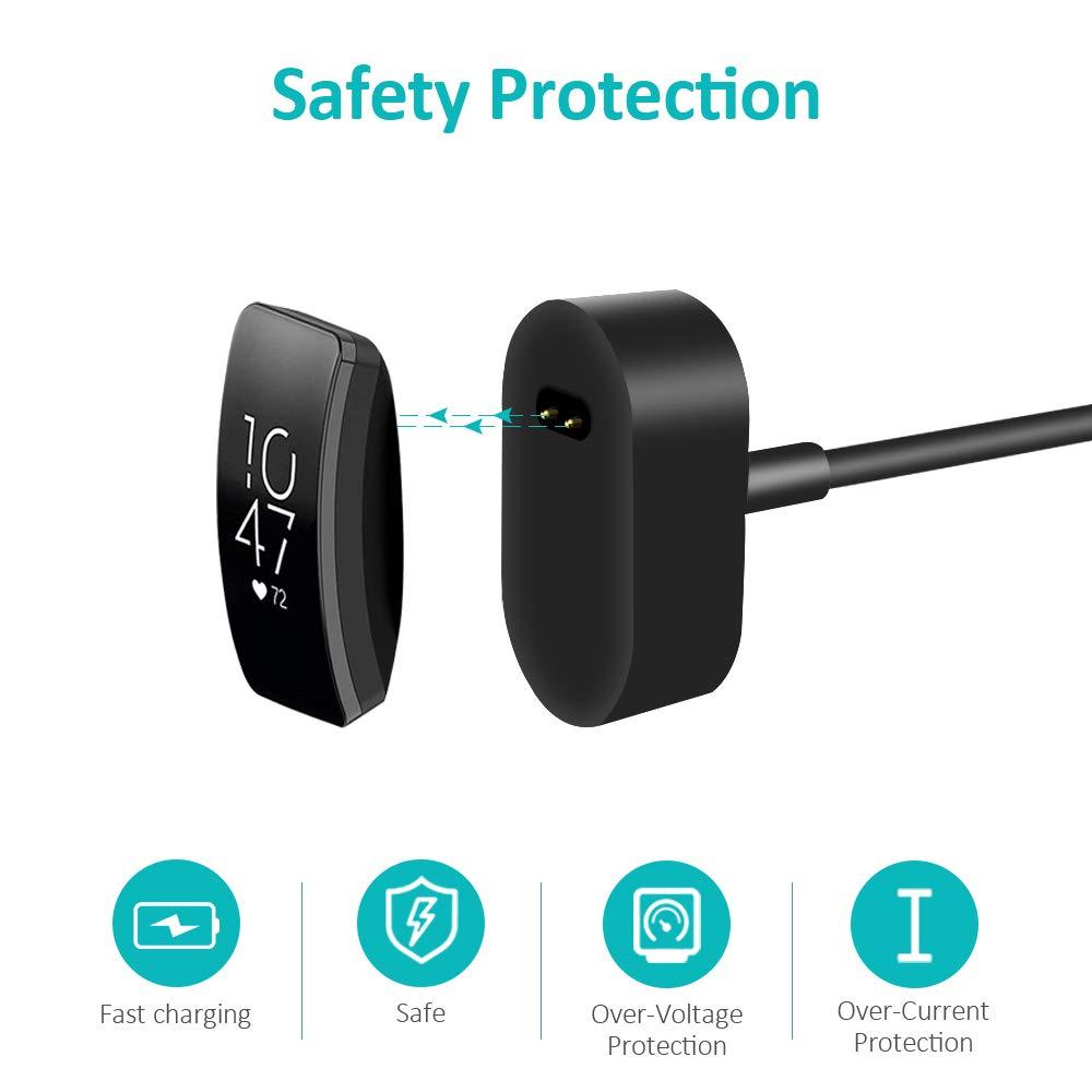 Amatage Cable de Cargador Fitbit de 2 Piezas Adaptador de Cable de Carga USB de Repuesto Cargador port/átil Base de Carga Soporte de Carga para Fitbit Inspire//Inspire HR Negro