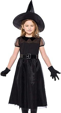 ARAUS Traje de Bruja Negra de Niñas de Halloween de Malla Falda + ...