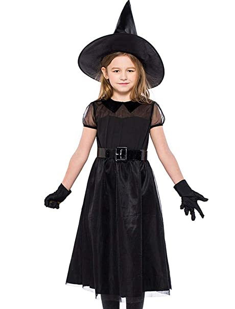 ARAUS Traje de Bruja Negra de Niñas de Halloween de Malla ...