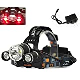 WindFire Hunting Headlamp RED Light 3X CREE LED(1xWhite +2xRED) 3 Modes Super Bright 5000Lm RED Light Headlamp Tactical Headlight RED Hunting Light Bicycle Light Lamp Flashlight Torch for Camping,Climbing,Cycling,Fishing