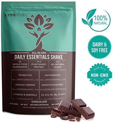 LYFE Fuel Meal Replacement Shakes - Keto, Vegan, Low Carb - Plant Protein & Superfoods for Weight Loss - 18g Complete Protein Pea & Rice, Organic Greens & Essential Vitamins (Chocolate - 14 Meals)
