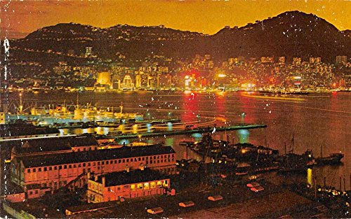 Kowloon Hong Kong night scene store house neon lights vintage pc Z45616