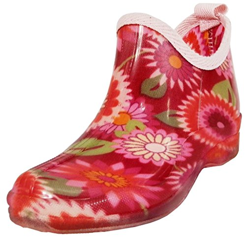 Hazel's Jewel Women's Ankle High Natural Rubber Rainboot & Gardenboot with Comfortable Insole, Red/Fuchsia Flower, 10 B(M) US