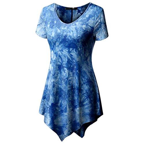 FENZL Women's Plus Size Basic O-Neck Tie Dye Printing Irregular Top Blouse (M, Blue) by FENZL