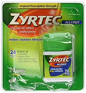 Zyrtec Allergy Relief (10 mg), 70 Tablets
