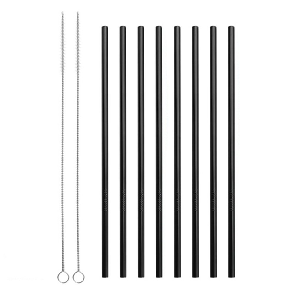 Reusable Stainless Steel Straws Set of 8 Black Metal Straight Drinking Straws with Cleaning Brush for Cups Mugs Tumblers Ramblers