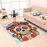Nalahome Custom carpet f The Dead Decor Cute Lady Mommy Skull Head with Flower Hat Spanish Mexican Art Print Multicolor area rugs for Living Dining Room Bedroom Hallway Office Carpet (36''x60'')