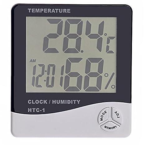 ounona HTC-1 pantalla LCD Digital termómetro higrómetro Temperatura Medidor de humedad con reloj (