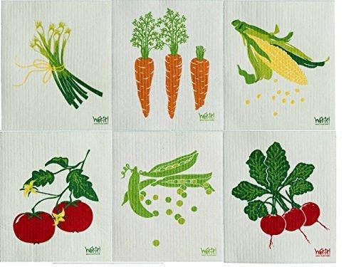 Wet-It Swedish Dishcloth Set of 6 (Peas, Radishes, Tomatoes, Corn, Carrots, Onions) by Wet-It