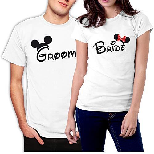 (picontshirt Groom & Bride MM Couple T-Shirts Men XXL/Women M White)