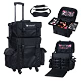 trolley bag makeup - Voilamart Rolling Makeup Case Trolley 2 in 1 Travel Cosmetic Train Cases on Wheels - Nylon Black Bags for Professional Make Up Artist Cosmetics Storage