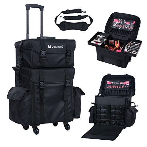 Voilamart Rolling Makeup Case Trolley 2 in 1 Travel Cosmetic Train Cases on Wheels - Nylon Black Bags for Professional Make Up Artist Cosmetics (Makeup Artist Bags)